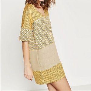 Zara Marigold Tricolor Jacquard Dress Sz S